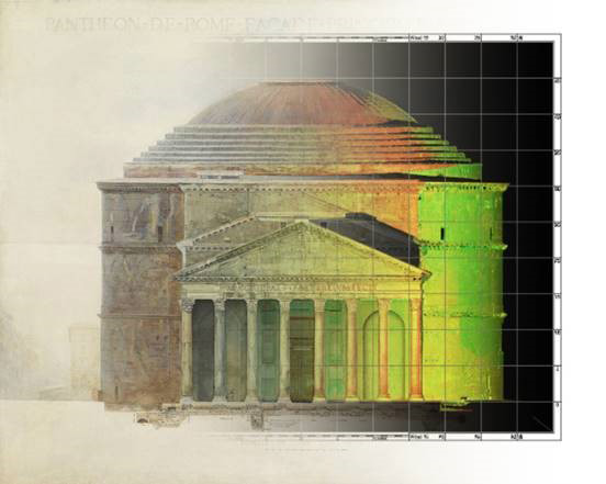 Drawing of the Pantheon with non-natural spectrum lighting