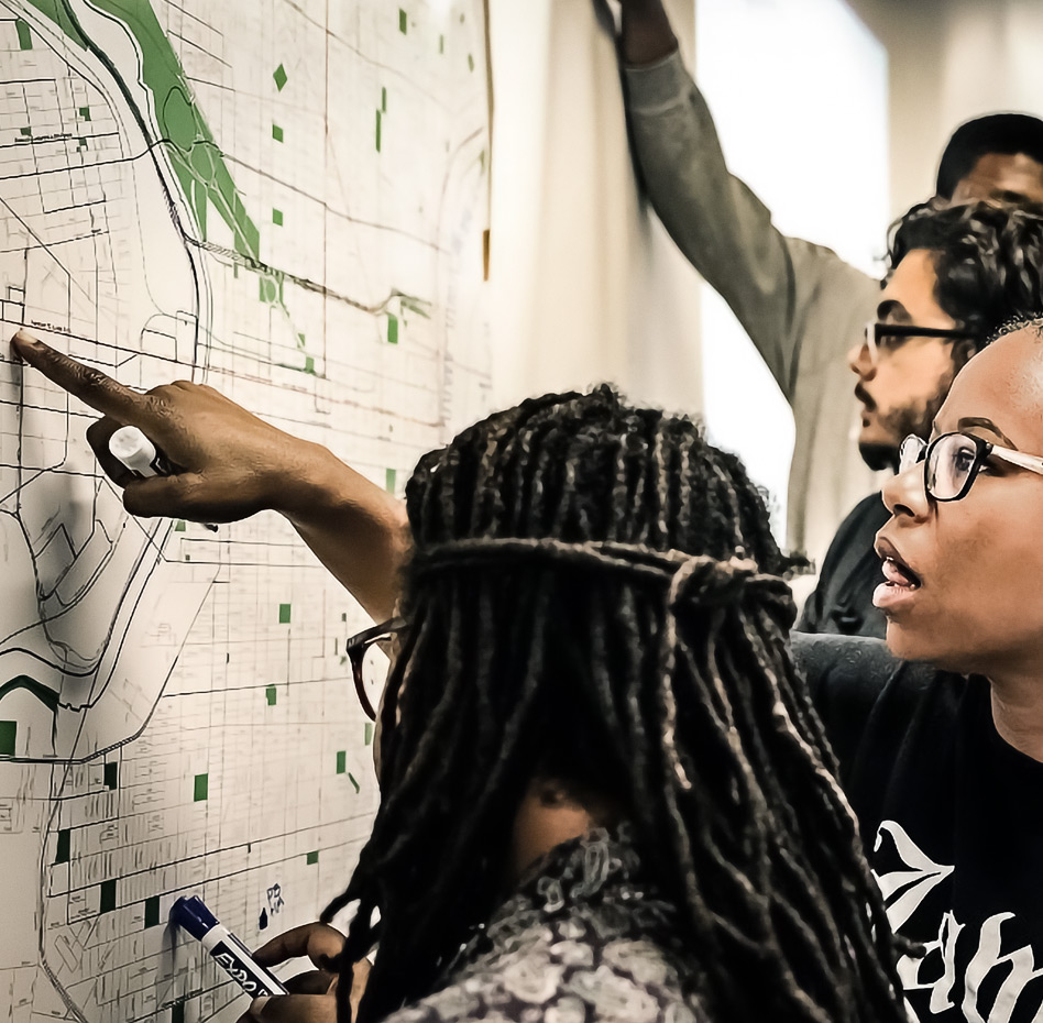 Students participate in the Libraries interactive Map Room