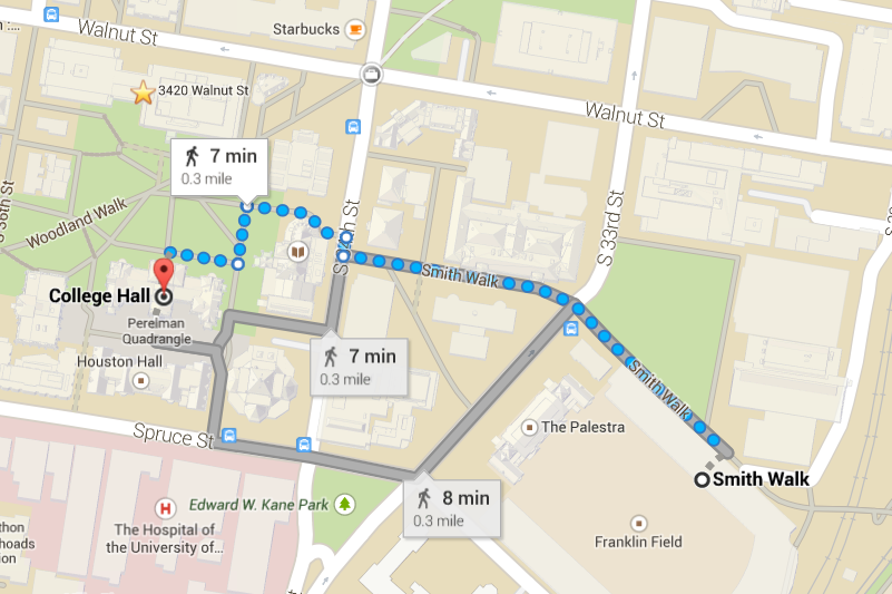 Map showing the path from College Hall