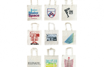 Custom screenprinted tote bags.