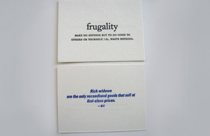 Postcard from the set: Frugality