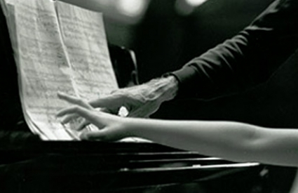 Hands of pianist Rieko Aizawa and cellist Paul Tortelier at the piano, 1992. Photo by Peter Checchia. Marlboro Music School and Festival Records, Kislak Center