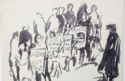 [Protest drawing no. 7] Police protest, 1960s, The Bronx, NY