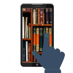 Cartoon of bookshelf in phone: Finger makes selection.