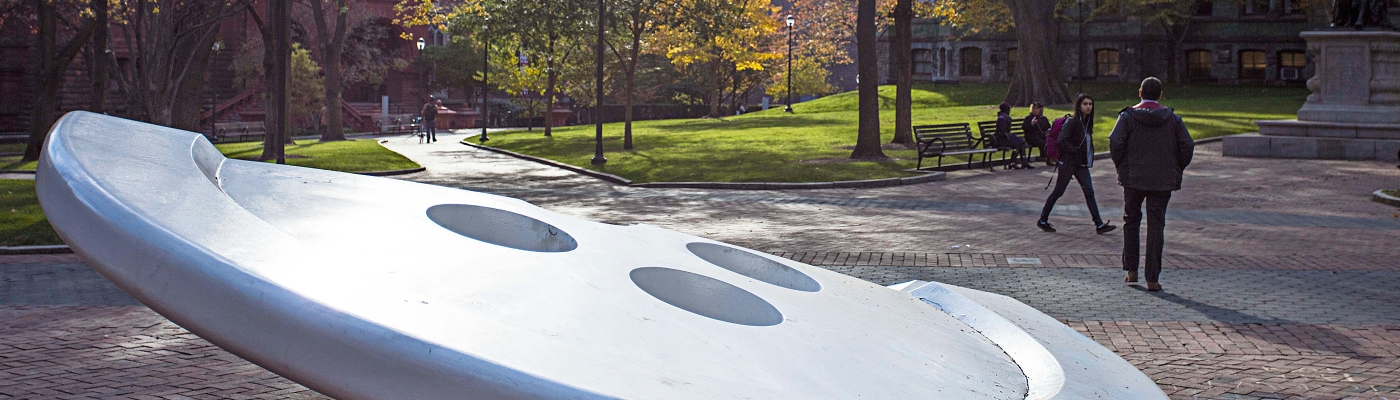Split Button by Claes Oldenburg in front of Van Pelt-Dietrich Library Center, looking toward Fisher Fine Arts Library on the left and the Boyle statue of Franklin on the right