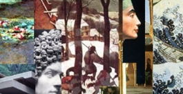 Collage of famous images including Falling Water, head of Nefertiti, Water lilies by Monet, Julia Flavia (Roman bust), Great wave by Hokusai, Alhambra court of the lions,  Hunters in the Snow by Pieter Bruegel the Elder