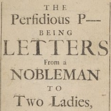 The perfidious P--- : being letters from a nobleman to two ladies (Title page)