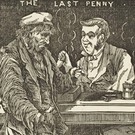 Engraving title is last penny. It shows a down and out man in a bar.