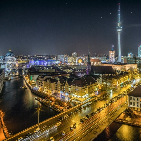 Photograph of Berlin at night