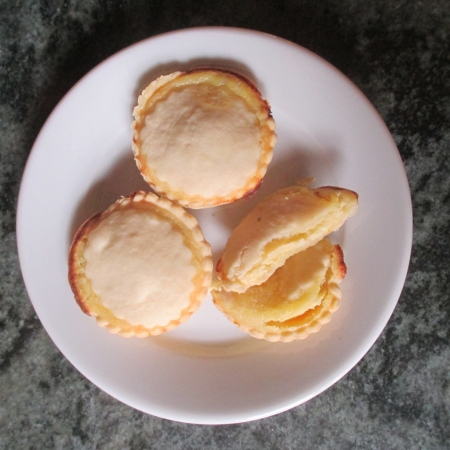 Photo of three almond puddings on plate