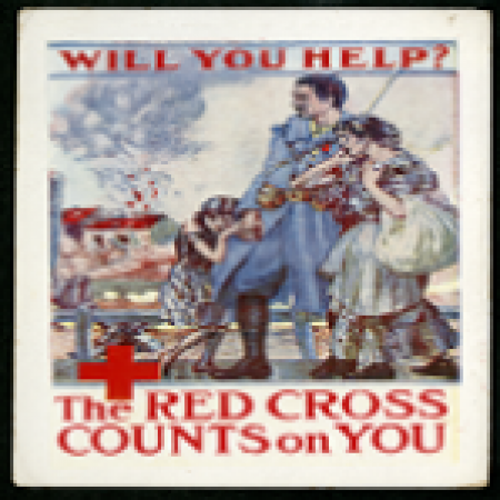 Promotional cartoon for Red Cross