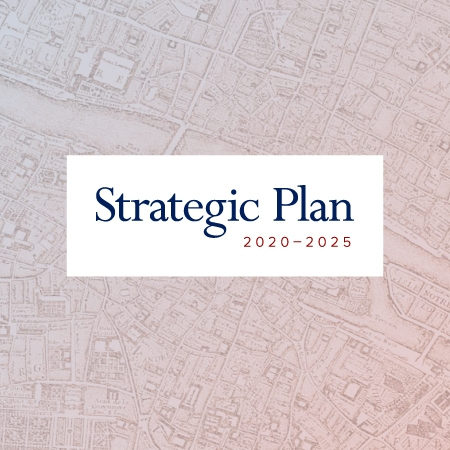Strategic Plan 2020-2025 icon against a map image