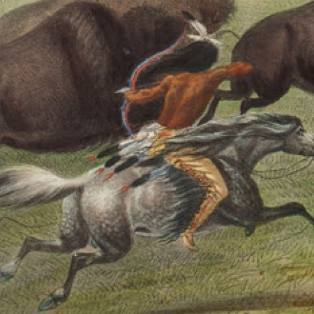 Painting of Plains Native American on horseback