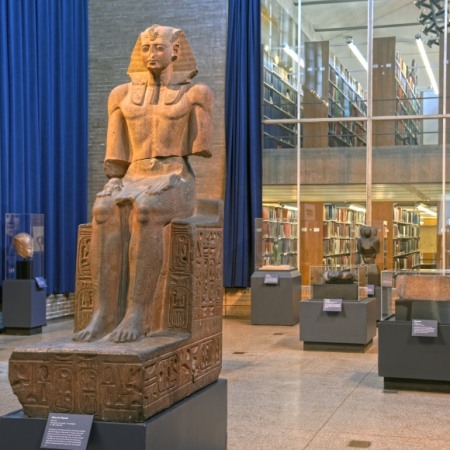 Interior of Museum with statue of pharaoh