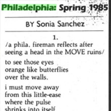 Clipping of Sonia Sanchez poem