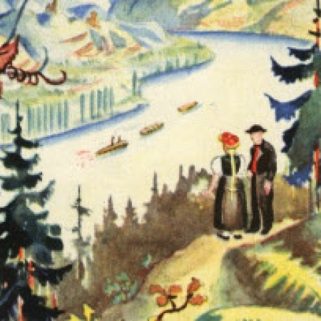 Detail of illustrated travel advertisement