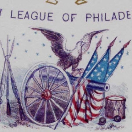 Illustration of eagle on top of cannon decorated with American flags, surrounded by muskets and drum