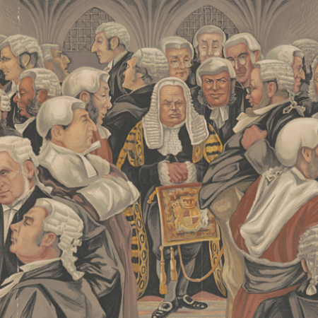 Cartoon depicting dozens of men in 19th century dress wearing old-fashioned judge's robes and wigs