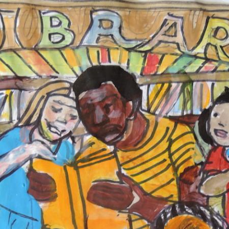 "Illustration of a dark-skinned man reading a book to a group of multi-racial children. Behind him is a bookshelf and a sign that says ""Library"""