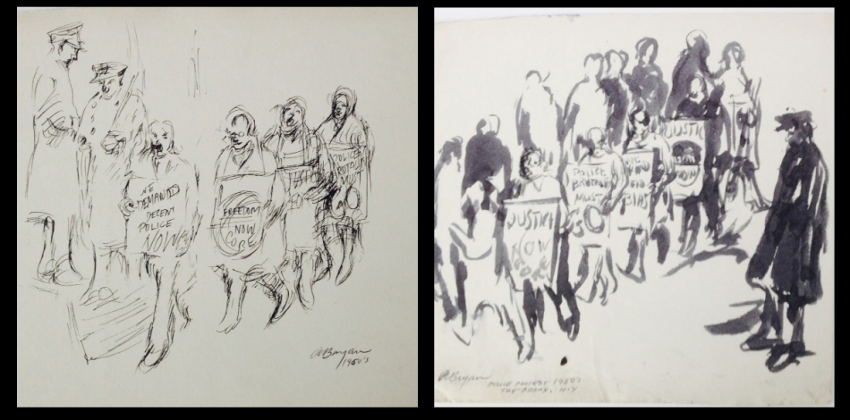 Drawings by Ashley Bryan of police protestors