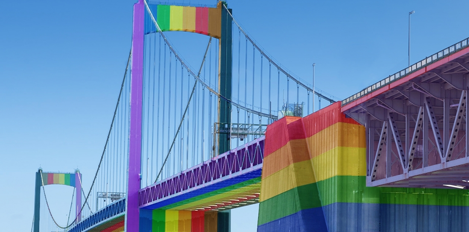Simulation of the Walt Whitman Bridge repainted with colors of Philly Pride flag. Courtesy whitmanat200.org