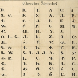 "Series of columns with letters from the Cherokee alphabet. At the top of the image is the title ""Cherokee Alphabet"" in English."