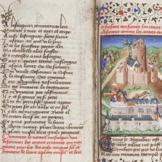 Image of medieval manuscript with text on left and picture on right
