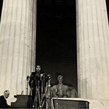 Marian Anderson singing at the Lincoln Memorial (Washington, 1939), Marian Anderson Collection of Photographs, Ms. Coll. 198, Kislak Center