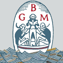 Gotham Book Mart graphic: monogram GBM shown with three 18th century men in a boat.