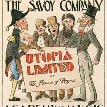 """Utopia Unlimited"", poster of 1936 production, Savoy Company Collection, Kislak Center for Special Collections, Rare Books and Manuscripts."