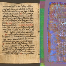 Page from the Galen Palimpsest in natural color and after processing to reveal the under text (2015).
