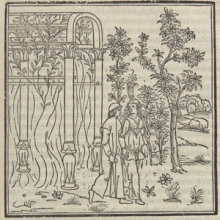 Couple walking through an arbor. Detail of page 75r from Hypnerotomachia