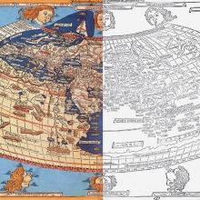 Paint over print image of partially colored Ptolemy map