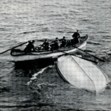 Photo of overturned lifeboat on which 28 titanic survivors spent the night, from John B. Thayer's The Sinking of the Titanic (Philadelphia, 1940) Rare Book and Manuscript Library