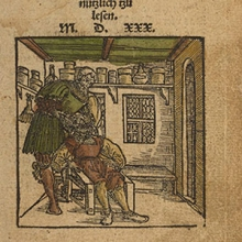 "Title page with woodcut of tooth extraction from ""Artzney Buchlein"" (Leipzig,1530)"