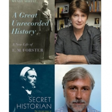<em>A Great Unrecorded History</em> book cover and portrait of the author Wendy Moffat and <em>Secret Historian</em> book cover and portrait of the author Justin Spring
