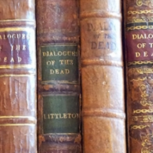 Detail of photograph of various spines of Dialogues of the Dead, courtesy of William Zachs.