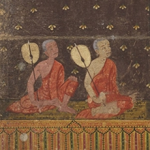 Detail monks with fans illustration from Abhidhamma chet kamphi: Phra Mālai (ca. 1870s). Collection of Southeast Asian Manuscripts, Kislak Center