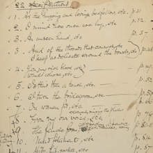"Walt Whitman, ""22 specifications,"" Manuscript, [1882], List of the passages to be expunged from James Osgood's 1881 Boston edition (6th ed.) of Whitman's Leaves of Grass."