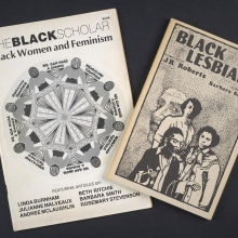 Covers of two journals, The Black Scholar and Black Lesbians, from the Joanna Banks Collection.