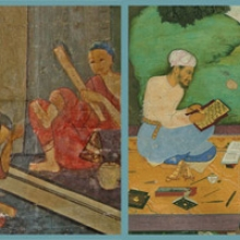 Details from Left: Buddhist monks relaxing and reading manuscripts. Wat Pathum Wanaram, Bangkok. and Right: Scribal portrait of `Abd Allah Mishkin Qalam (known as Mir `Abd Allah Katib), from a collection of poems (divan) written by Amir Najm al-Din Hasan Dihlavicv, 26 Muharram 1011.  Baltimore, The Walters Art Museum, W.650, fol. 127a