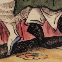 "Detail of hand-colored aquatint. ""Quite Unexpected."" From Gradus ad Cantabrigium. London: John Hearne, 1824."