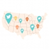 Map of U.S. with social media icons transposed