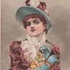 Illustration of a woman in a large blue hat covered in flowers and feathers, a red dress, and blue elbow-length gloves