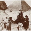 Black and white photograph of Sphinx and Pyramids