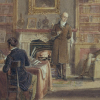 Nineteenth century painting of men in drawing room