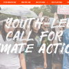 Screenshot from website showing photo of student activists with text A Youth-Led Call For Climate Action
