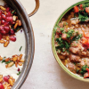 Two bowls of food: the one on the right is a bubbling curry-like dish topped with brightly-colored tomato and parsley; the one on the left is a creamy white soup topped with chickpeas, pomegranate, and pine nuts