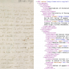 Left: close-up look at a hand-written historical document; Right: screen capture of website code