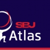 """SBJ Atlas"" written in red on a blue background with a stylized graphic representing the god Atlas holding a globe"